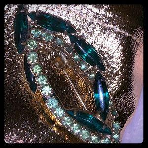 Antique Brooch Green Gems
